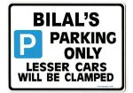 BILAL'S Personalised Gift |Unique Present for Him | Parking Sign - Size Large - Metal faced